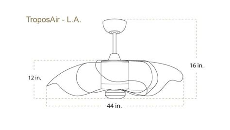 ceiling fan dimensions troposair the l a 44 inch indoor outdoor modern ceiling fan