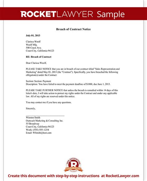 Breach Of Contract Letter Breach Of Contract Notice Letter Sle
