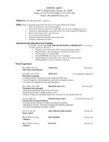 resume cnc machine operator free resume templates