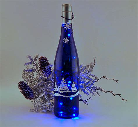 wine bottle light christmas trees blue and white blue