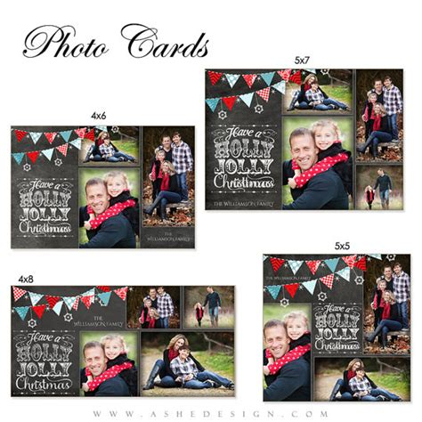 design it photo card christmas card design chalkboard holly jolly by ashedesign