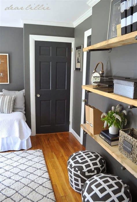 similar color scheme in my home, dark gray walls, white
