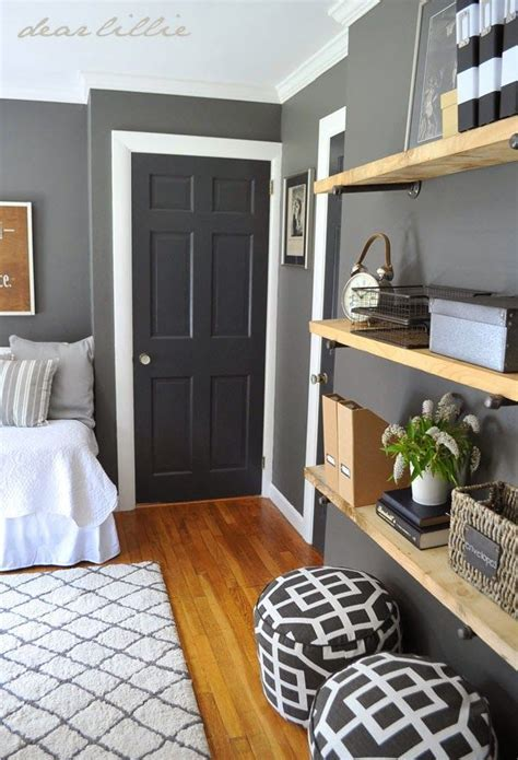 similar color scheme in my home, dark gray walls, white