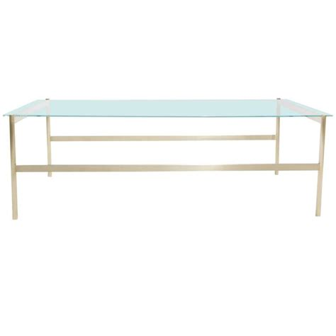 Rectangular Glass Coffee Table Duotone Rectangular Coffee Table Brass Base Clear Glass For Sale At 1stdibs