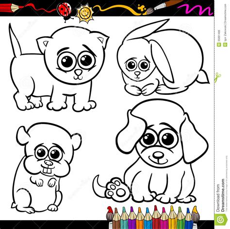baby animals with big eyes coloring pages cartoon cuteanimal 点力图库