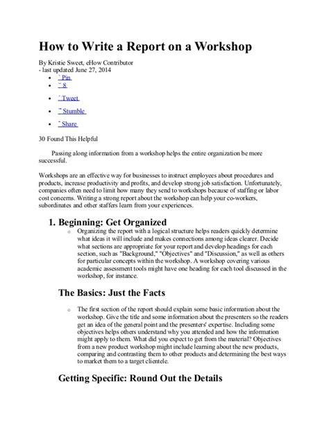 Use Of Report Writing by How To Write A Report On A Workshop