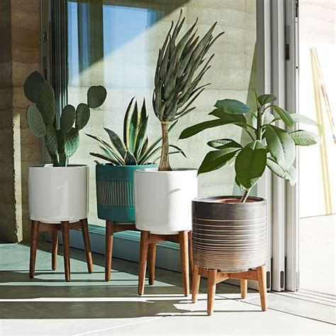 Paket Pot N Hanging For Window N Stand 3 In 1 mid century turned leg standing planters solid west elm