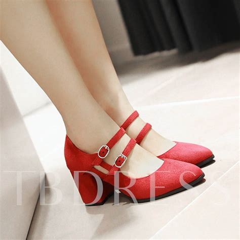 High Heel Pointed Pumps square high heel pointed toe plain s pumps tbdress