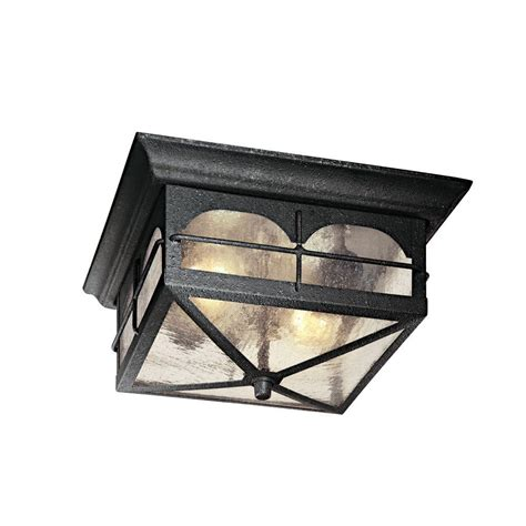 Outdoor Ceiling Lighting Hton Bay 2 Light Aged Iron Outdoor Flush Mount Hb7045 292 The Home Depot