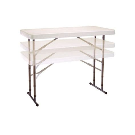 Height Adjustable Folding Table Lifetime 4 Ft Commercial Adjustable Height Folding Table Almond 80161