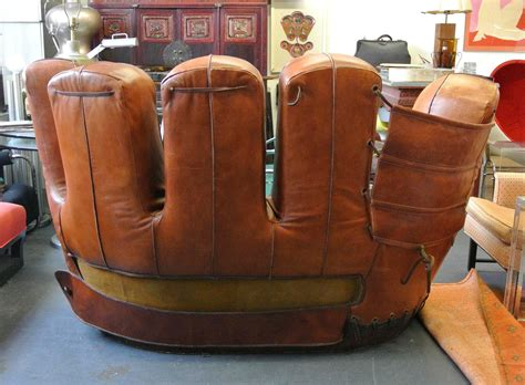 baseball glove leather couch stiles brothers leather baseball glove sofa at 1stdibs