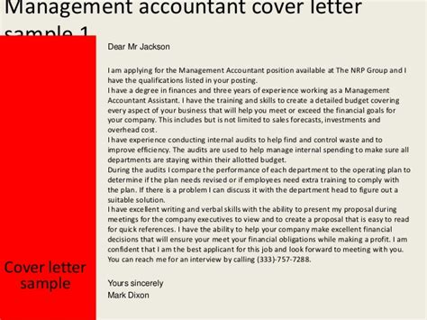 management accountant cover letter management accountant cover letter