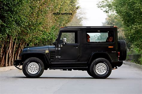 open jeep modified in black colour azad 4x4 launches fiber hardtop solution for mahindra thar