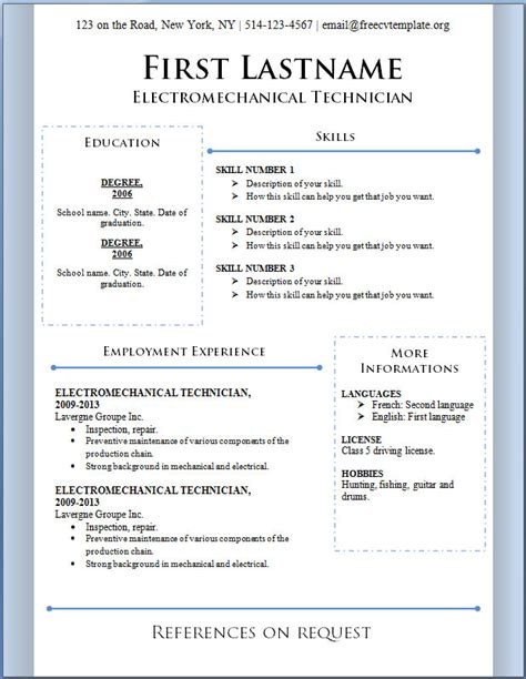 free resume templates free cv template dot org