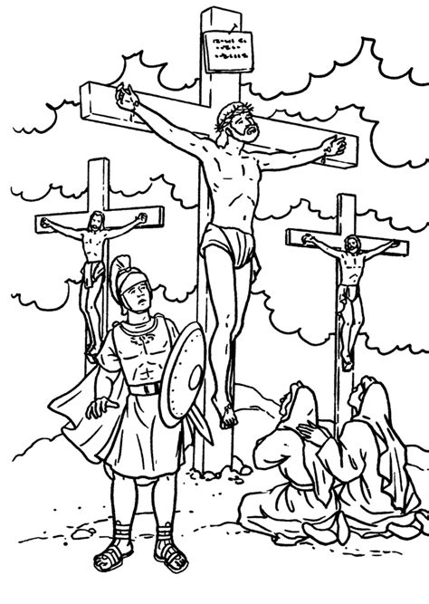 coloring page jesus cross jesus on the cross coloring bible nt gospels