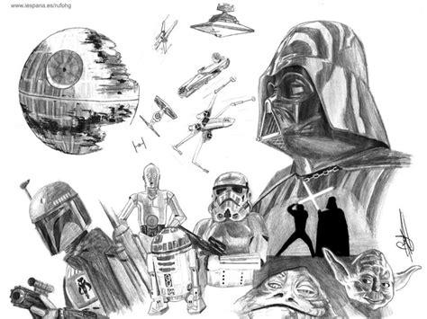 imagenes de star wars a lapiz dibujo de varios personajes de star wars sketches