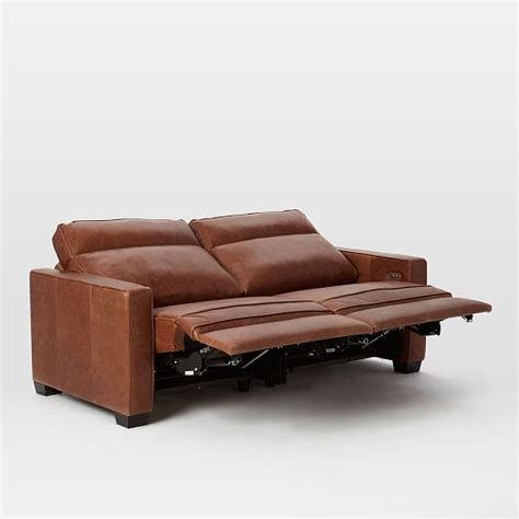 west elm reclining sofa henry 174 leather power recliner sofa tobacco west elm