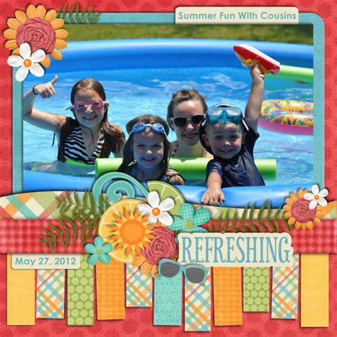 scrapbook layout cousins digital summer fun with cousins