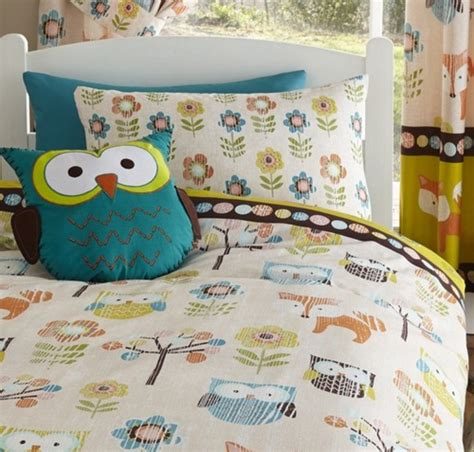 kids woodland themed single bedding with owls and foxes