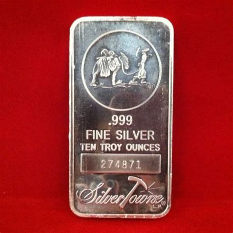 10 troy ounce 999 silver bar 10 troy oz ounce 999 silver silvertowne mint bar