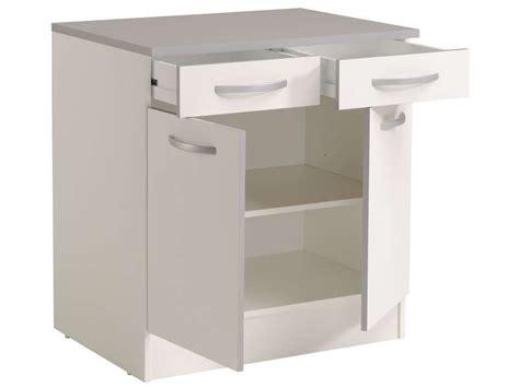 meuble bas 80 cm 2 portes 2 tiroirs spoon coloris blanc