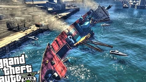 big boat gta 5 huge sinking cargo ship gta 5 mod youtube