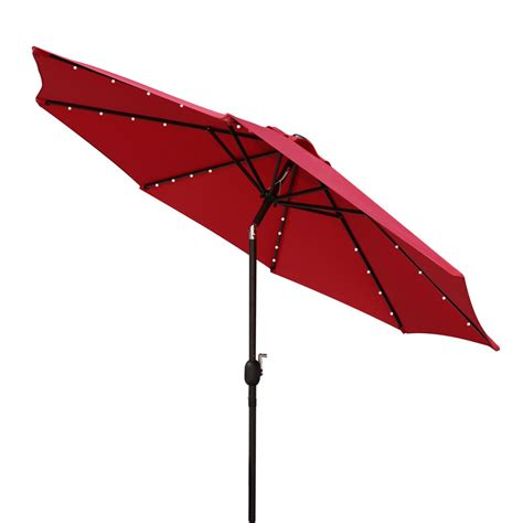 lighted patio umbrellas solar powered 32 led lighted outdoor patio umbrella with crank and tilt 9 ebay