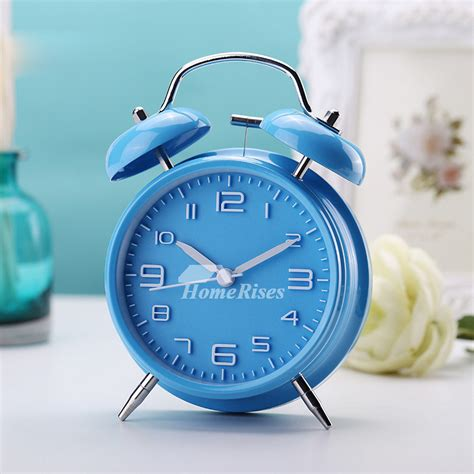 creative best alarm clock metal modern silent black silver blue