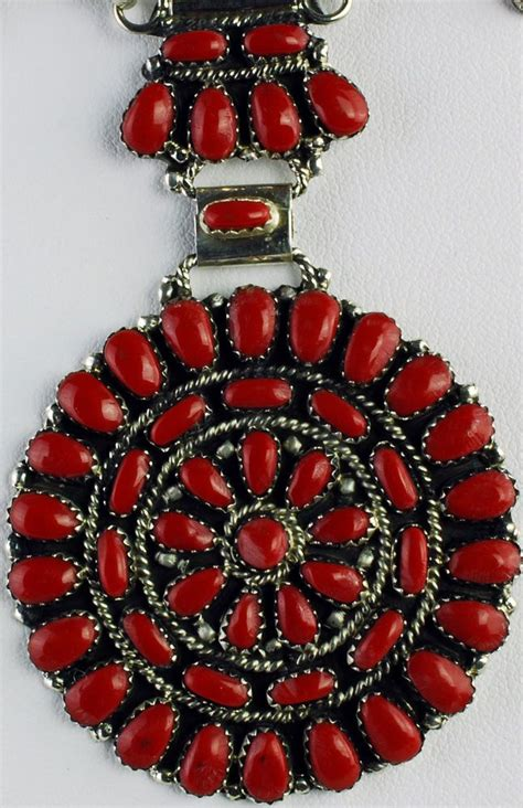 navajo sterling silver red coral cluster necklace