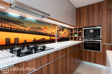 kitchen wall murals bridge with orange sky background kitchen wallpaper