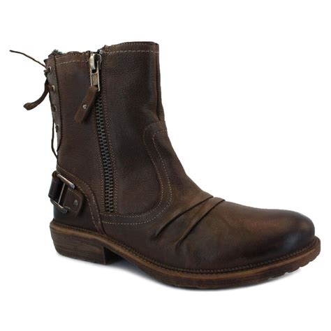 brown leather biker boots mustang 4834 603 32 mens zip synthetic leather biker boots