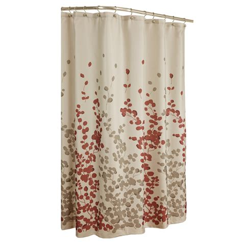 flowered shower curtains shop allen roth rosebury polyester print red choc floral