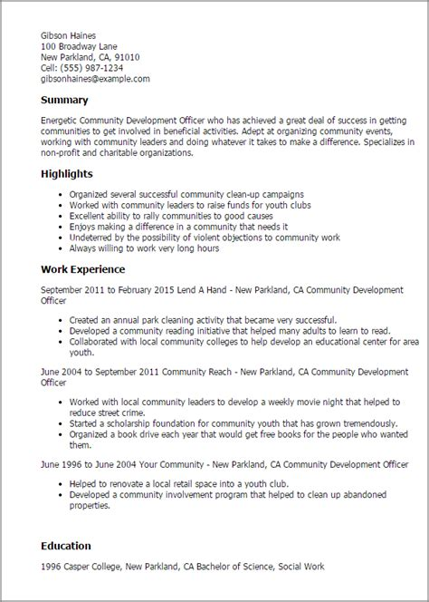 Resume Community Activities Professional Community Development Officer Templates To Showcase Your Talent Myperfectresume