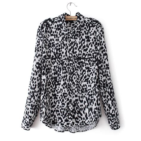 Blouse 2 Pieces Black Leopard ym1973 46 fashion style sleeve turn