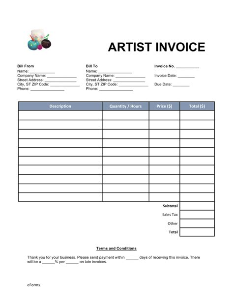 Free Artist Invoice Template   Word   PDF   eForms ? Free