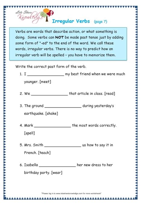 verb worksheets 5th grade free worksheets library