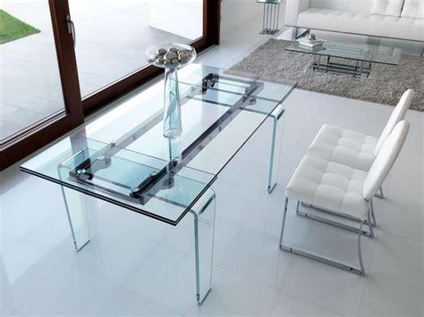 tavoli da soggiorno in cristallo tavolo allungabile rettangolare da pranzo in cristallo in