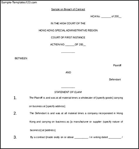 Letter Breach Of Employment Contract Breach Of Contract Letter Template Letter Template 2017