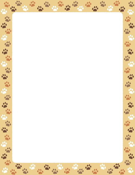 Printer Bordir a page border featuring cat paw prints on a background