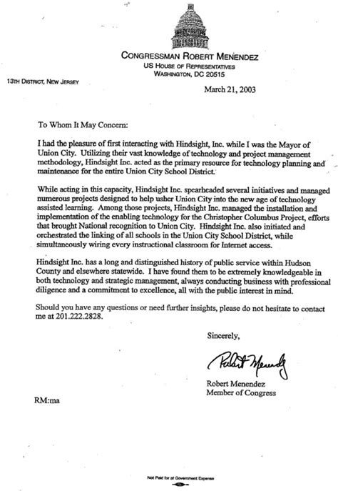 Recommendation Letter For From Politician Menendez County Has Problems With Bid Solution