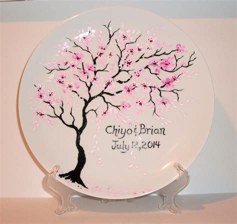 blossom free plate handpainted wedding plate cherry blossoms free personalization