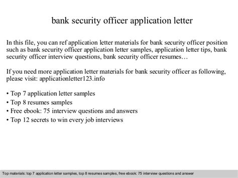 application letter as bank officer bank security officer application letter