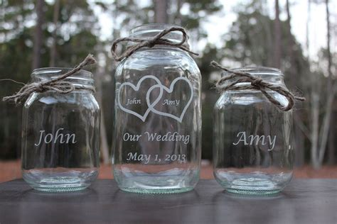 Wedding Ceremony With Sand by 3 Personalized Engraved Jar Sand Ceremony Set