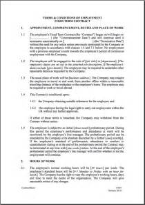 Fixed short term employment contract month employment contract