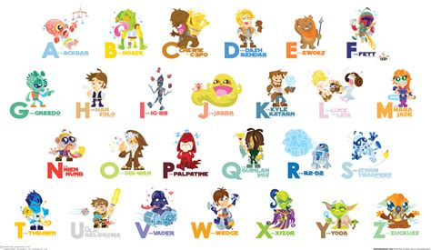 Letter Character Names Teach The Alphabet To Your Child With Wars Characters Designtaxi