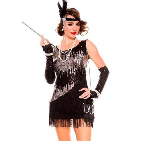 great gatsby themed fancy dress ladies 20s 1920s black flapper gangster gatsby fancy dress