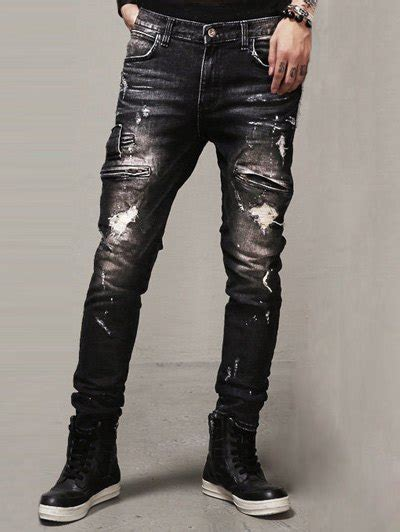 Lavenue Jegging Ripped 31 34 zipper embellished scratched ripped in black 34