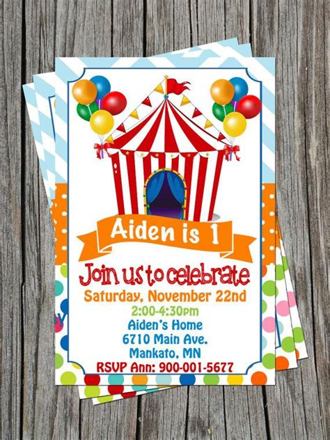 carnival themed birthday invitations circus carnival birthday invitation personalized by