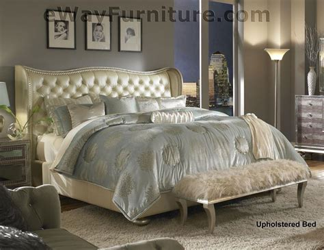 creamy pearl tufted white leather  crystal bedroom set