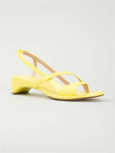 yellow strappy sandals maison margiela strappy sandals in yellow yellow orange